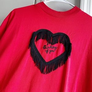 Lazy Oaf Not Thinking Of You Red Heart Fringe Tee